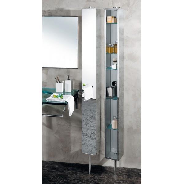 armoire de salle de bain inox tournante avec miroir cristina ondyna pk51506