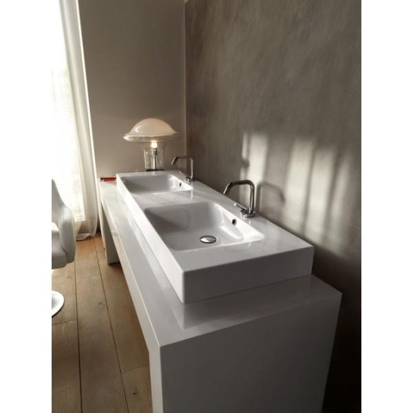 Lavabo Ceramique Cento A Poser Ou A Suspendre 140 45 Cm Double Vasque Cristina Ondyna Wce14045 Vita Habitat