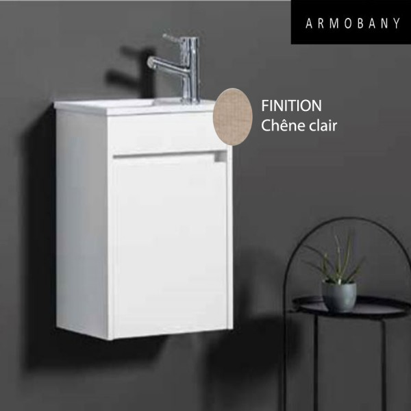 ensemble meuble lave mains et vasque chene clair armobany mi4031f