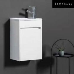 ensemble meuble lave mains et vasque blanc brillant armobany mi4018f