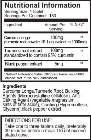 Pureclinica Turmeric and Curcumin ingredients