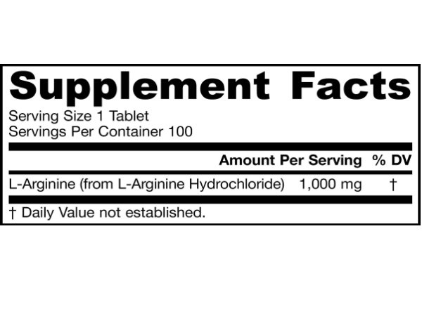 Jarrow Formulas L-Arginine 1000mg ingredients