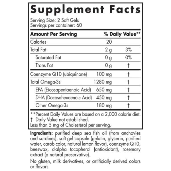Nordic Naturals Ultimate Omega + CoQ10 x 120 ingredients