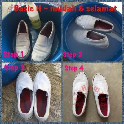 cuci kasut sekolah dengan basic H 3