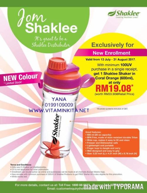 shaker shaklee baru coral orange