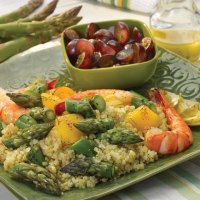 Grilled Asparagus with Shrimp Quinoa Salad with Lemon Vinaigrette