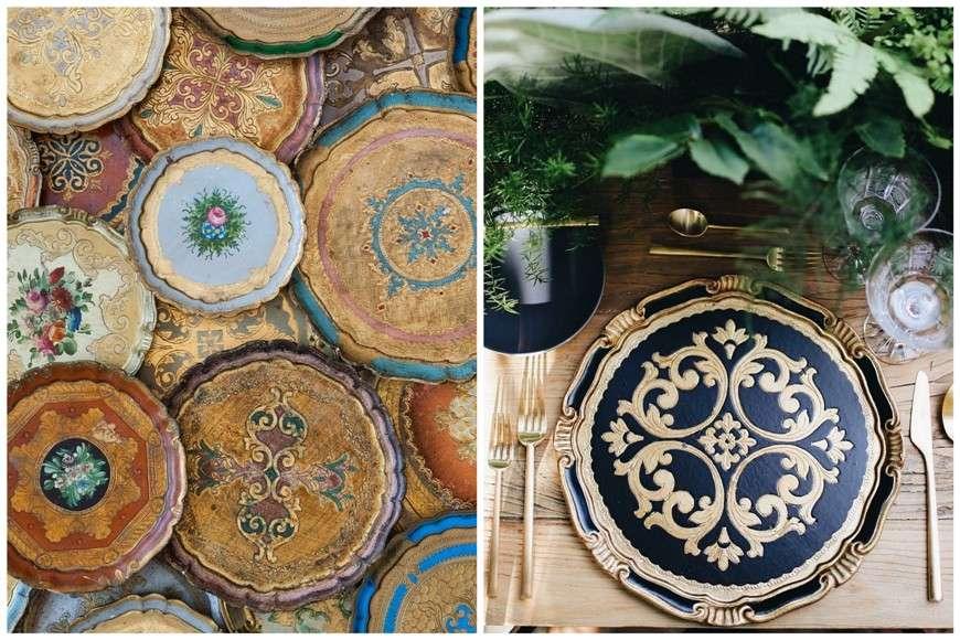 i vassoi in legno decorato