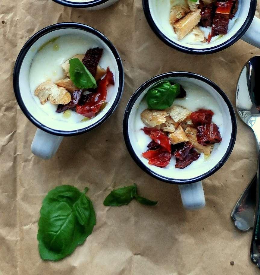 Panna cotta al parmigiano con pomodori secchi, taralli e basilico | Vita su Marte