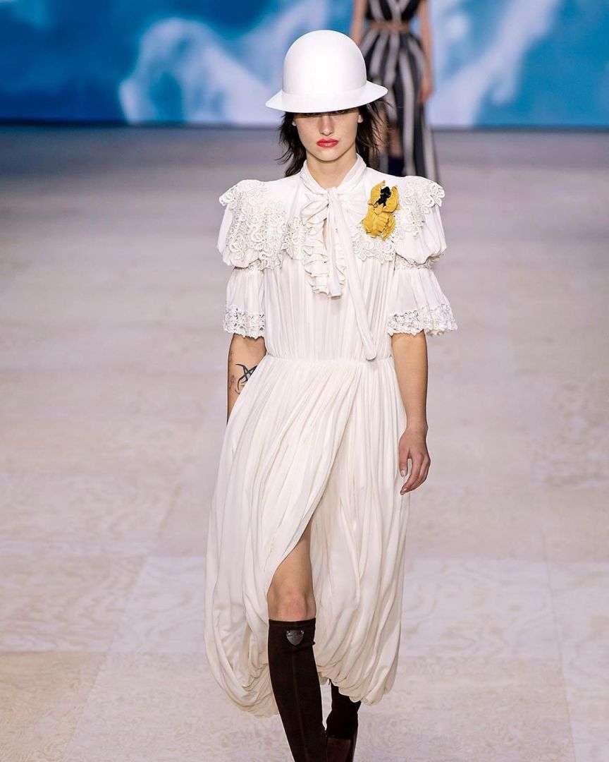 white dress runway