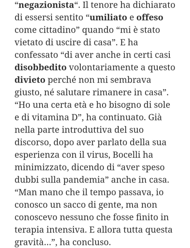 gossip estate 2020 bocelli