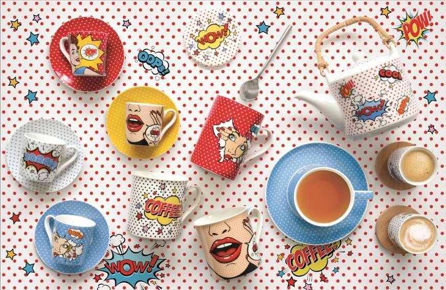 porcellane con decori fumetto pop art