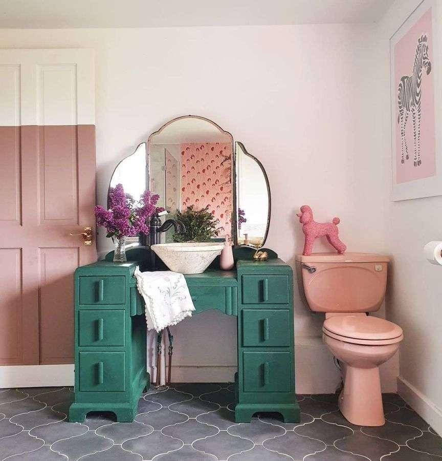 bagno rosa e verde