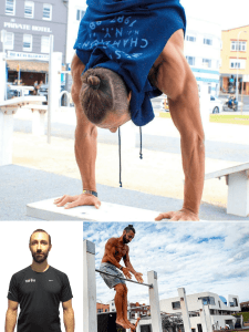 Bodyweight training specialist & Personal Trainer Dave, showing a hand stand, posing for a profile photo and lastly practicing some muscle ups with a clap.