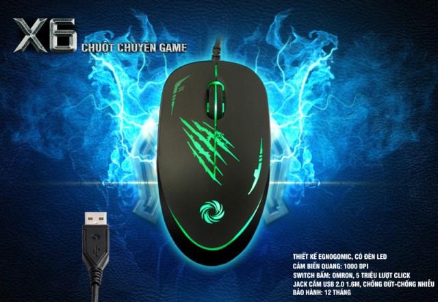 Chuột Coolerplus CPM-X6 Led xanh lá Gaming chính hãng