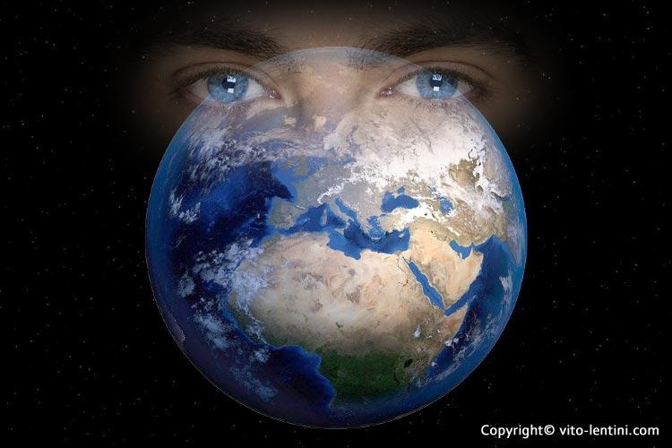yeux parcourent la terre