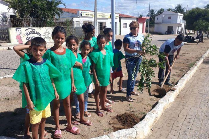 Crianças do Centro de Convivência plantam flores em Monteiro