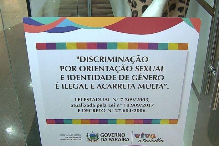 Estabelecimentos voltam a ter que fixar cartaz sobre discriminação sexual na Paraíba