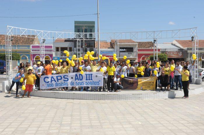 Setembro Amarelo foi tema de caminhada do CAPS ADIII em Monteiro