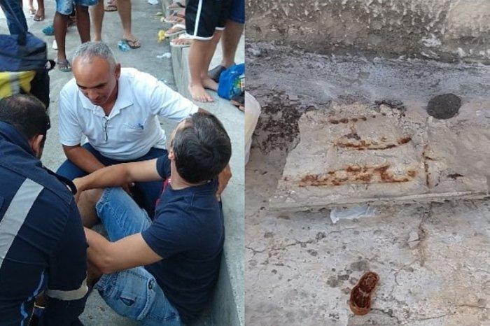 Pedaço da marquise do Almeidão cai sobre torcedor