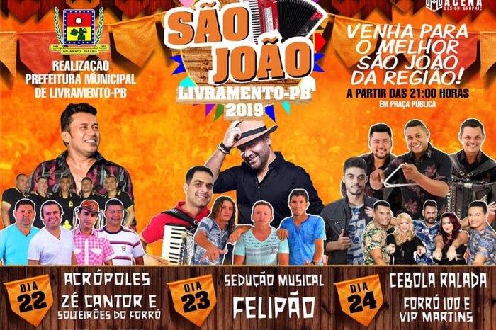 São João de Livramento terá shows com Zé Cantor & Solteirões do Forró e Felipão