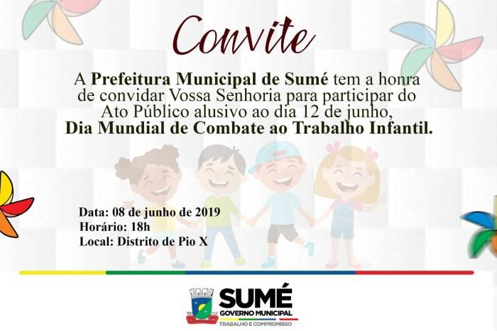 Dia D da Campanha Contra o Trabalho Infantil em Sumé acontece neste sábado