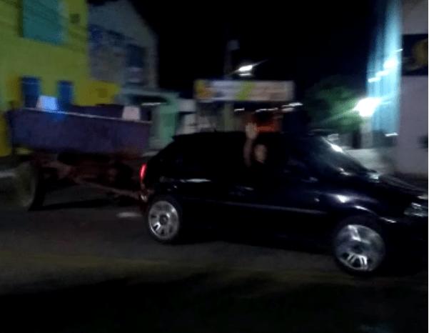 Vândalos furtam e abandonam caçambão de lixo durante a madrugada em Soledade