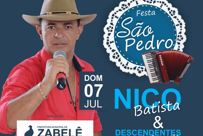 Nico Batista é atração na Festa de São Pedro em Zabelê