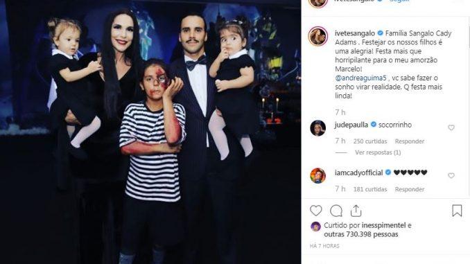 Ivete Sangalo se veste de Morticia Addams para aniversário do filho