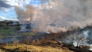 Incêndio de grandes proporções atinge Monteiro, na Paraíba — Foto: Ismar Santana