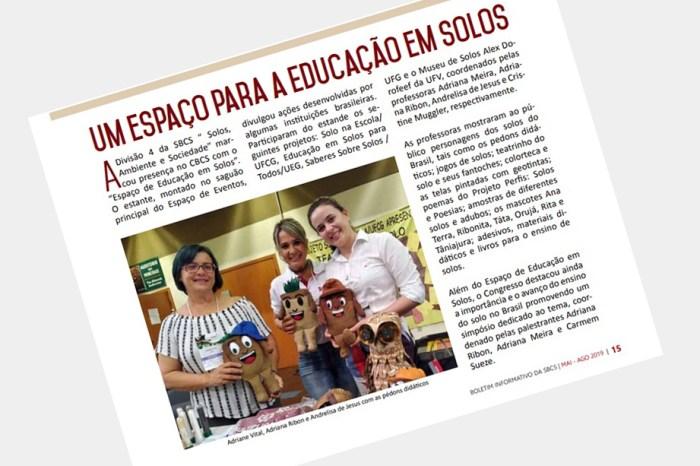 Projeto Solo na Escola é destaque no boletim da Sociedade Brasileira da Ciência do Solo