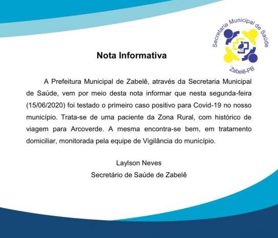 Secretaria Municipal de Saúde de Zabelê confirma primeiro caso de Covid-19