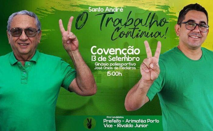 Convenção homologa candidaturas de Arimatéa e Rivaldo para prefeito e vice em Santo André