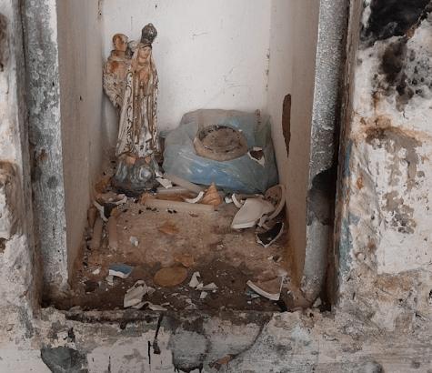 Imagem de Nossa Senhora de Lourdes é destruída na gruta do Sítio Santa Catarina