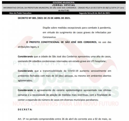 Prefeitura de São José dos Cordeiros publica novo decreto com medidas mais restritivas para conter a Covid-19