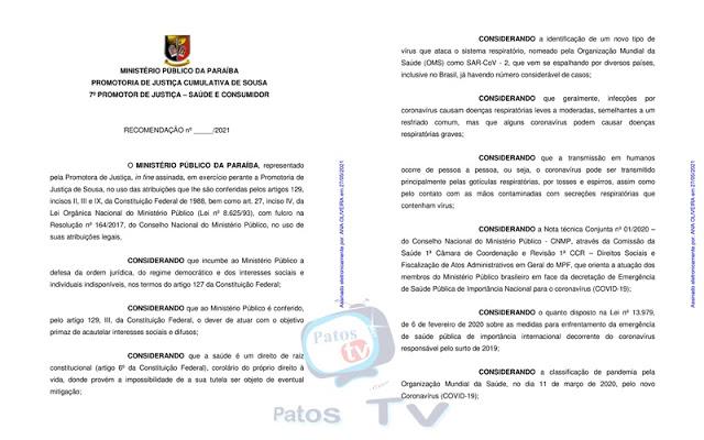 VEJA A LISTA: MPPB recomenda 'lockdown' e proibição de venda de bebidas alcoólicas em 12 municípios