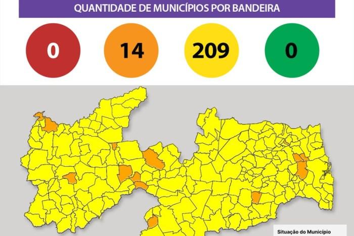 Bandeiras laranjas e amarelas voltam a predominar em 100% dos municípios paraibanos