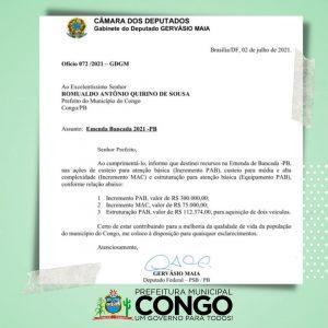 Deputado paraibano destina mais de R$ 400 mil para cidade do Cariri