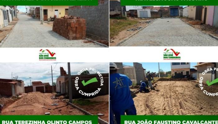 Em apenas 6 meses, prefeito Felício Queiroz conclui várias obras de pavimentação em S. J. dos Cordeiros