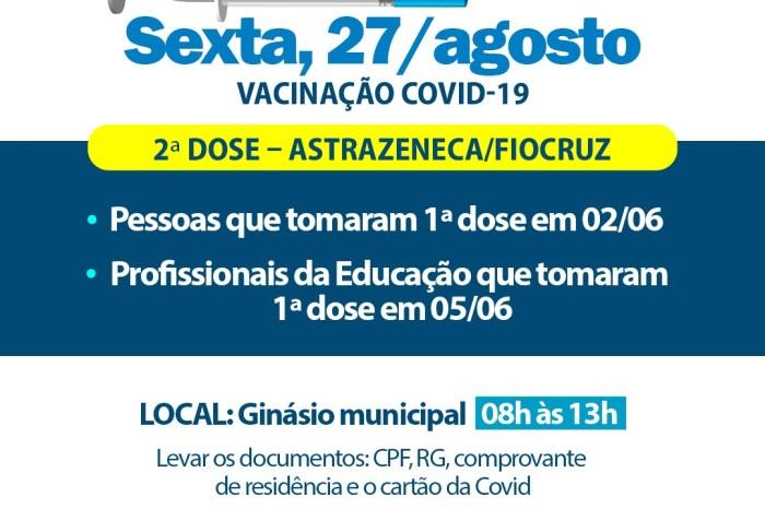 Sumé aplica 2ª dose contra Covid-19 de Astrazeneca nesta sexta-feira