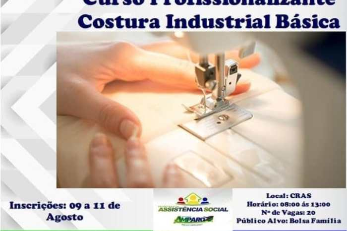 Amparo anuncia inscrições para curso profissionalizante de Costura Industrial Básica