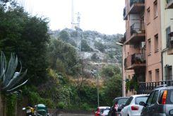 El barri de l'Àngel, amb neu als terrats i les zones munyanyoses // Elisenda Colell