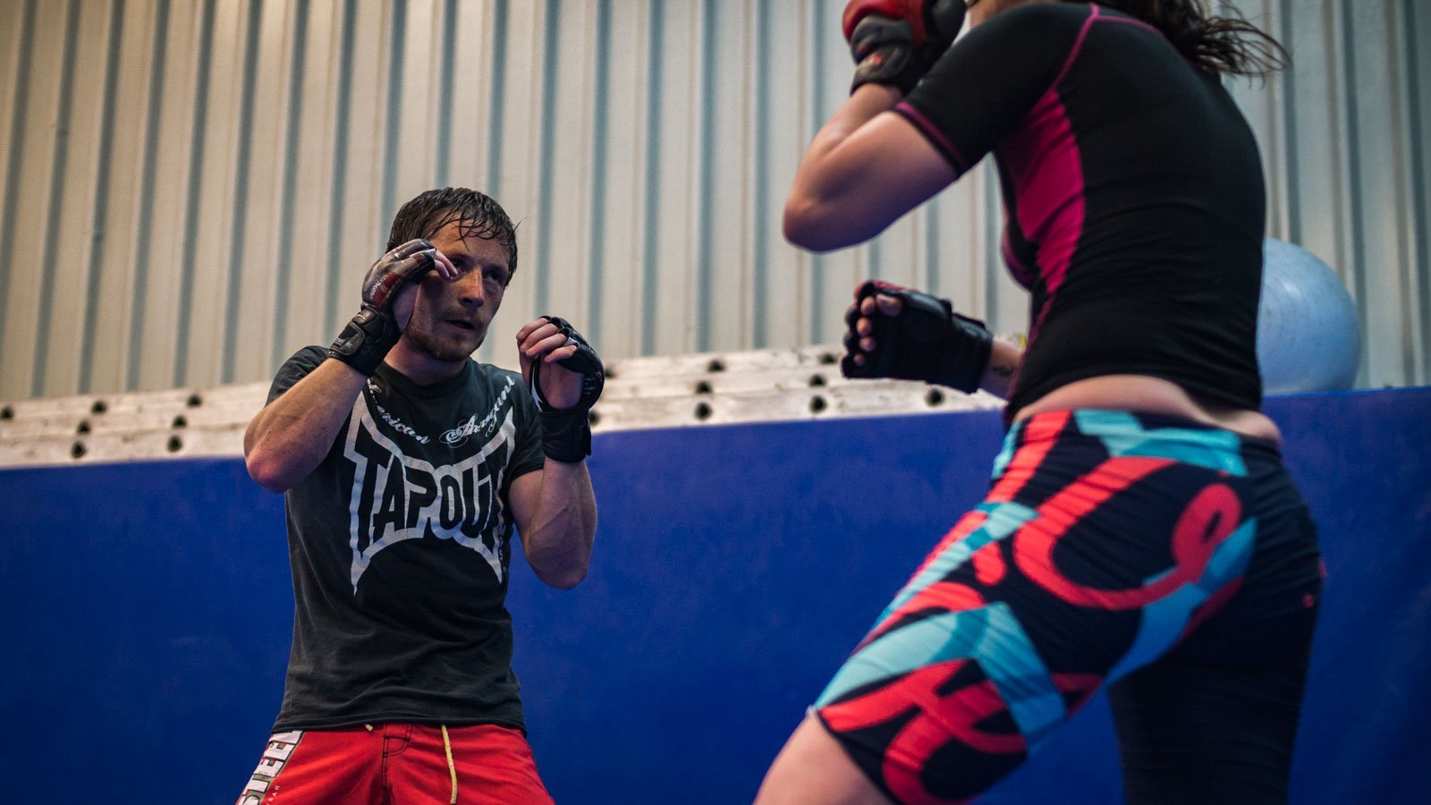 Dan and Lucie sparring MMA