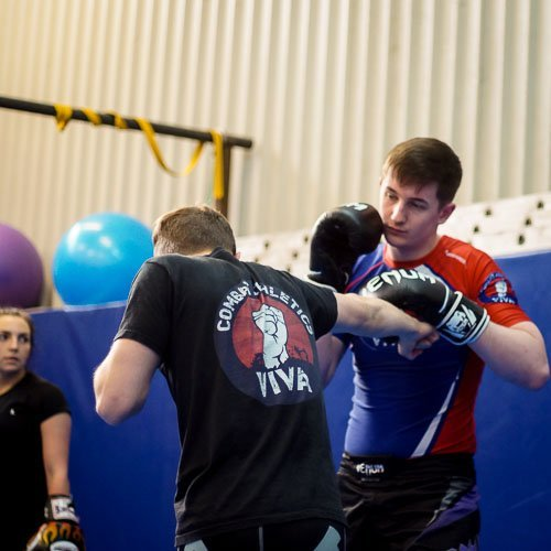 Arron demonstrating in our Manchester Kickboxing class