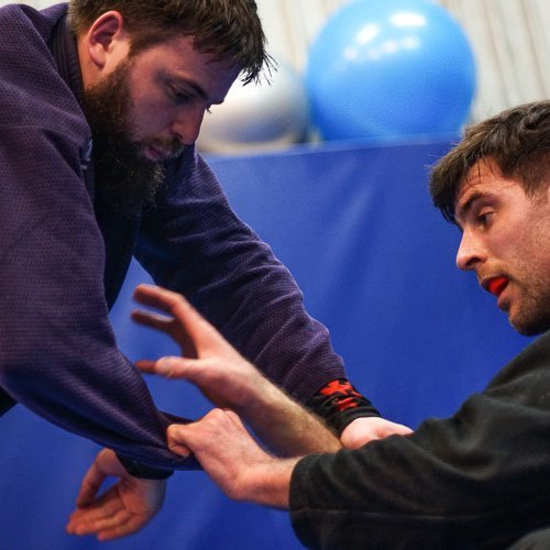 Stuart Meschai clamps on in the Brazilian Jiu Jtsu session