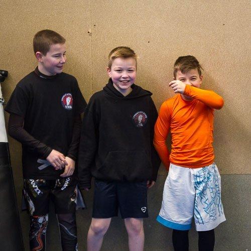 Ethan, Sam and Luke having fun in the kids martial arts class in tameside