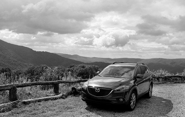 Driving Mazda CX-9 in the Blue Ridge Mountains
