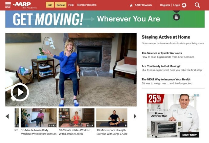 There are many offerings for midlifers and seniors seeking online workouts to follow from home. Here are six that we like.