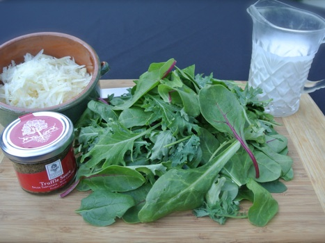 truffle slices creamed greens