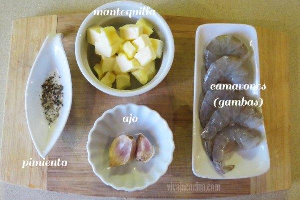Ingredientes para los Camarones al Mojo de Ajo