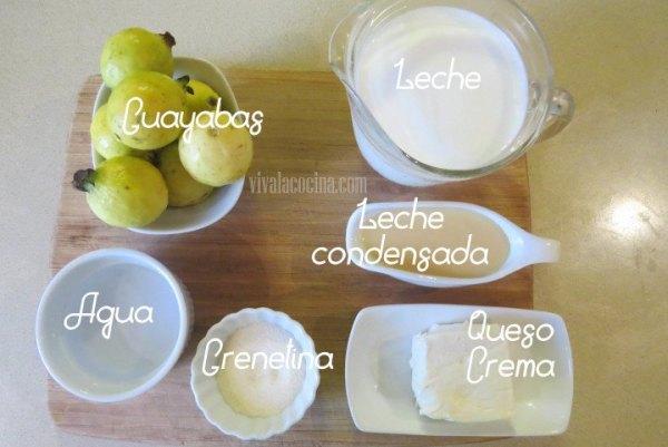 Ingredientes para la gelatina de guayaba